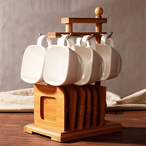 CLX Tassenhangbaum, Abnehmbarer Bambustassenhalter, Tassenorganizer, aufhänger und -Halter zur Lagerung von Kaffee und Tee mit 6 Haken,Braun,B