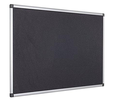 Bi-Office Filztafel Maya, Mit Aluminiumrahmen, Schwarze Filzoberfläche, Zum Gebrauch Mit Pinnnadeln, Pinnwand, 60 x 45 cm