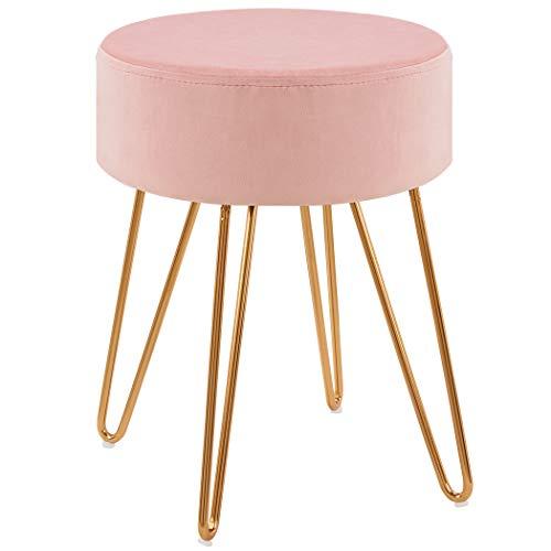 Duhome Sitzhocker Hocker Rund aus Stoff Samt Farbauswahl Schemel Elegantes Design Metallbeine 9111, Farbe:Pink, Material:Samt