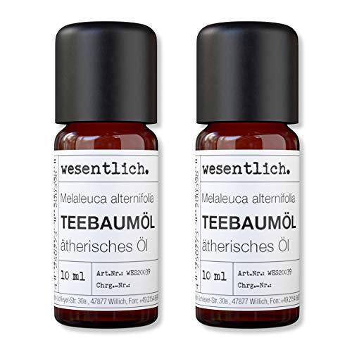 wesentlich. Teebaumoel - ätherisches Öl - 100% naturrein (Glasflasche) - u.a. für Duftlampe und Diffuser (2x10ml)