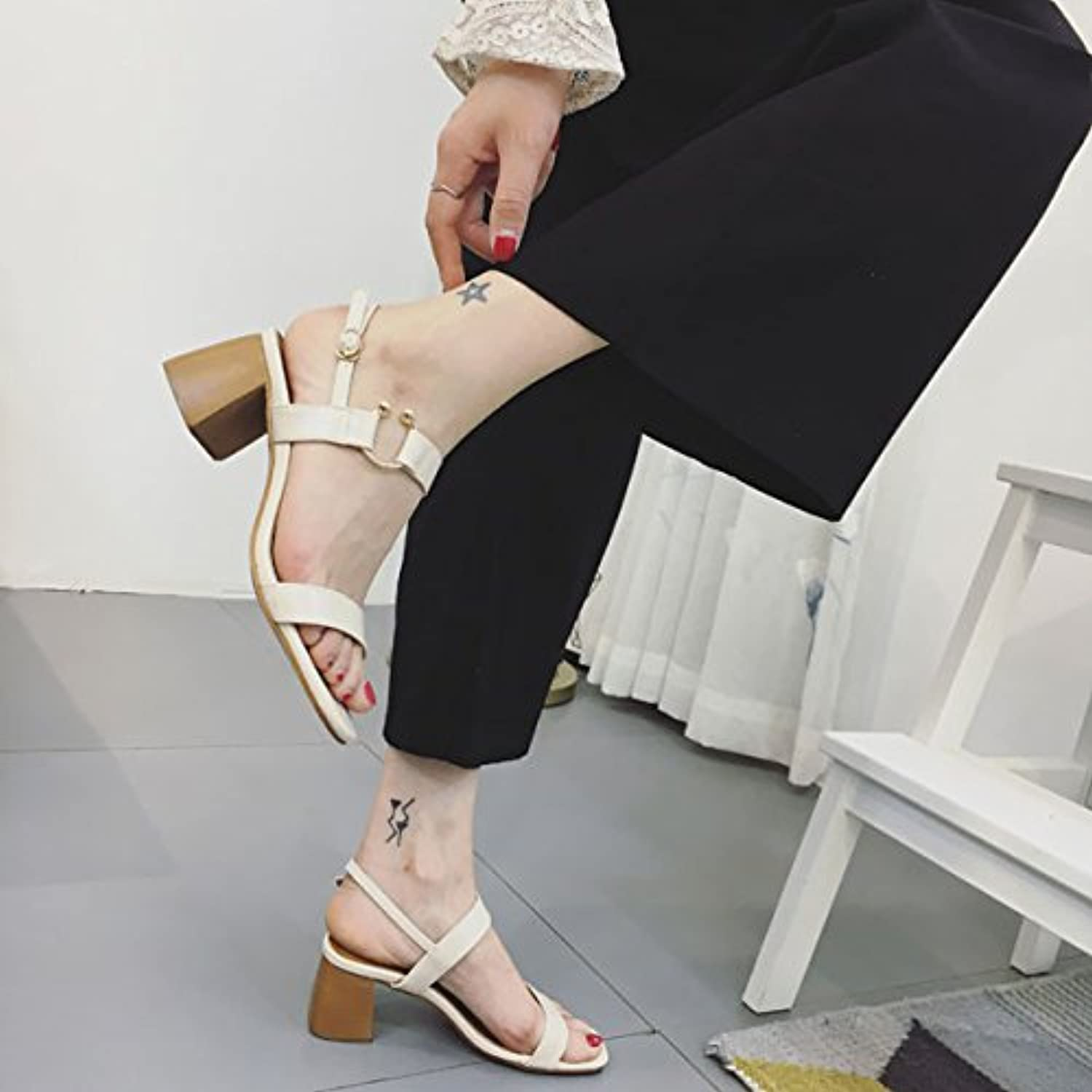 2017 New Female high-Heeled Sandals Summer Students with All-Match toeless Korean Thick Thin Word Buckle shoes