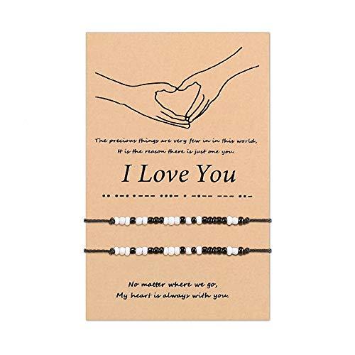 SUNSH 2 piezas Pinky Promise I Love You Código Morse pulseras a juego para mujeres adolescentes hombres joyería ajustable hecha a mano parejas novio novia madre hija amistad