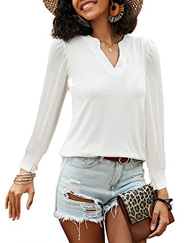 Avoogue Camisetas de manga larga para mujer, cuello en V, estilo informal, túnica de verano y mujer, color sólido, blusa larga y supersuave
