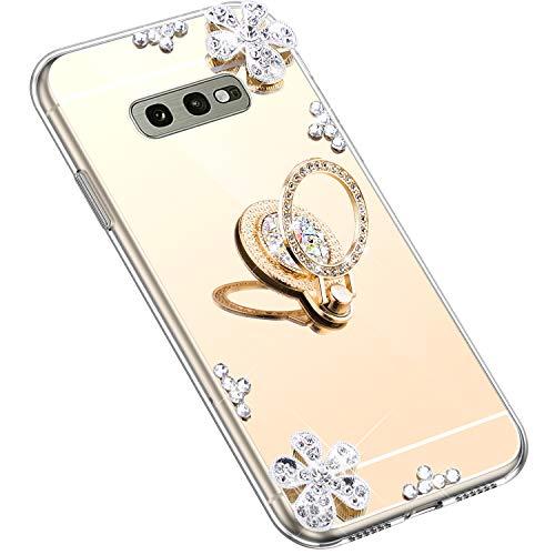 Uposao Kompatibel mit Samsung Galaxy S10e Hülle Silikon Spiegel Handyhülle Schutzhülle mit 360 Grad Ring Ständer Glitzer Kristall Strass Diamant Mädchen Handy Tasche Silikon Hülle Case,Gold