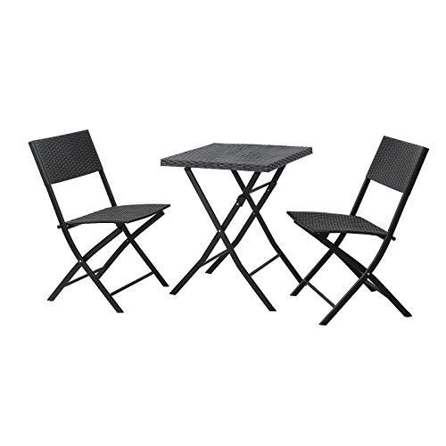 SVITA Polyrattan Bistro-Set 3er Set Balkonset Klappmöbel Stuhl Tisch Gartenmöbel Sitzgruppe Essgruppe Balkonmöbel schwarz