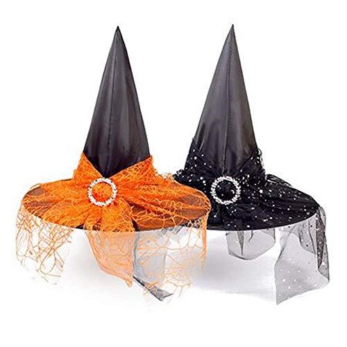 2 Stück Halloween Frauen Hexenhut Zaubererhüte Wicked Witch Hat für Frauen Halloween Party Masquerade Cosplay Zubehör Kinder Erwachsene (schwarz / orange)