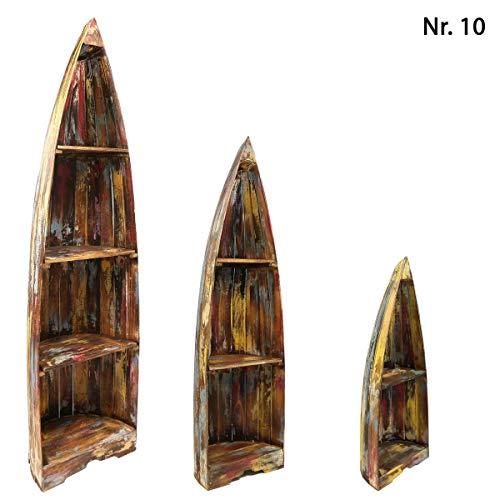 Oriental Galerie Bootsregal Regal im Boots-Design Holzregal Standregal Aufbewahrung Konsole Bord Albesia Holz, Design:Nr. 10, Größe:Mittel