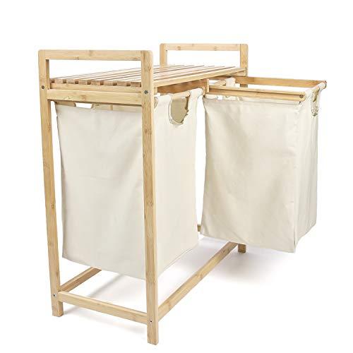 myb3 Bambus Wäschekorb (64x33x73 cm) mit 2 ausziehbaren Wäschesäcken aus 100 {983b35dbf2558eac550c1eee036ae10e756d0690befa4b9147d874402e6473a4} Baumwolle - nachhaltiger Wäschesammler mit großer Ablagefläche