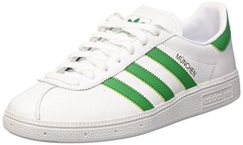 adidas Munchen, Sneaker a Collo Basso Uomo, Core Bianco/Verde/Oro Met, 44 EU