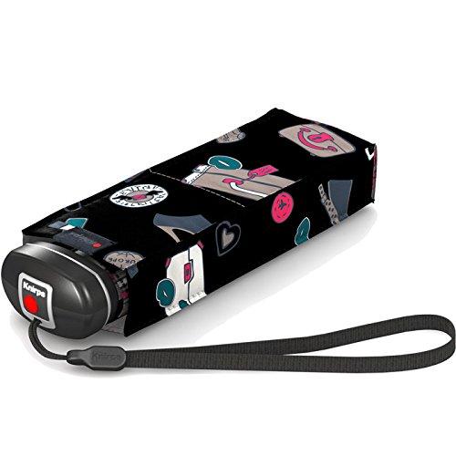 Knirps Regenschirm Mini Taschenschirm Travel klein leicht - Miami, Miami Hibiskus (Schwarz), Länge 17,5 cm, Breite 5,5 cm, Höhe 3,5 cm