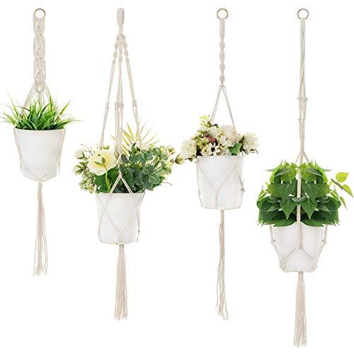 Ihoming 4 Pack Plant Hangers Indoor Hanging Planter Basket, Handmade Cotton Rope Hanging Planters...