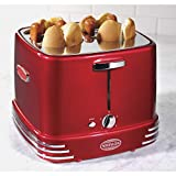 Red Retro Toaster Kitchen 4-Slot Hot Dogs And Buns Pop-Up Toaster Countertop Cookware Classic 4 Slots Hot Dog Cooking Assembled Chrome Silver, Metal Plastic