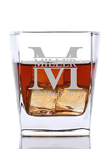 Personalized Cube Rocks Glass – Whiskey Glass   Groomsmen or Groomsman Gift - Miller Design