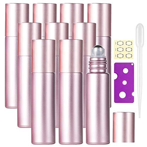 Alledomain - Botellas de rodillo de aceite esencial (10 ml, rellenables, de color oro rosa, con bolas de acero inoxidable y tapa de oro rosa, incluye 12 etiquetas), color 2 (Rosa)
