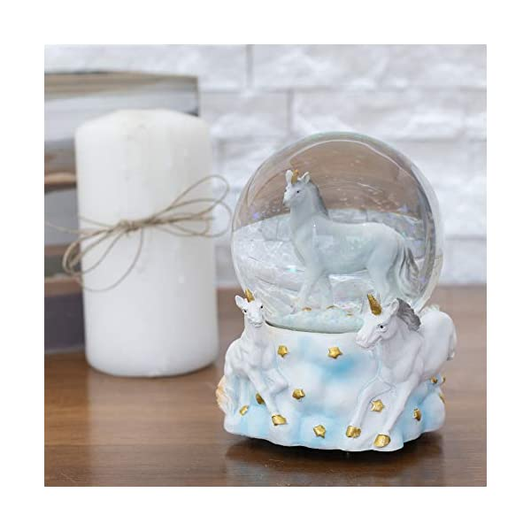 Elanze Designs White Unicorn Friends 100MM Musical Water Globe Plays Tune You are My Sunshine 4