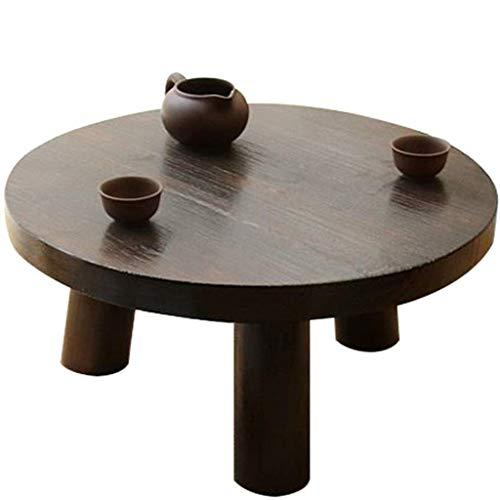 Diaod Mesa Redonda pequeña, Tatami de Mesa Baja, Sala de Estar Mesa de Café Oscuro Bahía de Madera de Brown