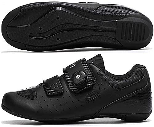 KUXUAN Calzado de Ciclismo de Carretera para Hombre,Zapatillas de Spinning con Zapatilla Peloton de Cala Compatible con SPD y Delta para Hombre,Black-39EU=(245mm)