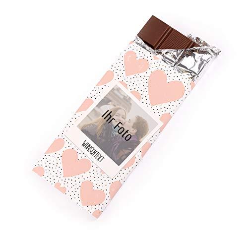Herz & Heim® Personalisierte Schokolade mit Foto Aufdruck im Polaroid Design für Liebende