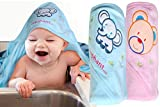 Mom Care Cotton Hooded Bath Towels for Newborn Baby Wash Cloth for Babies Infants Toddlers ,(Pack of 2) Blue ,Pink Color