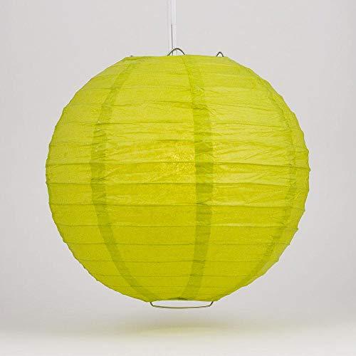 "Quasimoon PaperLanternStore.com 16"" Chartreuse Even Ribbing Round Paper Lantern (10 Pack)"