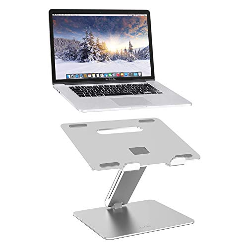 Ergonomic Laptop Stand for Desk Aluminum Laptop Computer Stand Laptop Riser Adjustable Notebook Holder Stand with Heat-Vent (Silver)