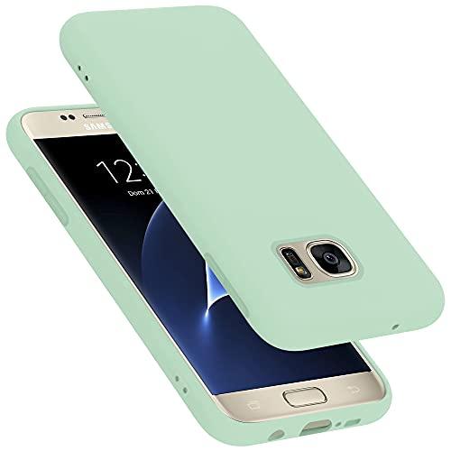 Cadorabo Custodia compatibile con Samsung Galaxy S7 in LIQUID VERDE CHIARO - Morbida Cover Protettiva Sottile di Silicone TPU con Bordo Protezione - Ultra Slim Case Antiurto Gel Back Bumper Guscio