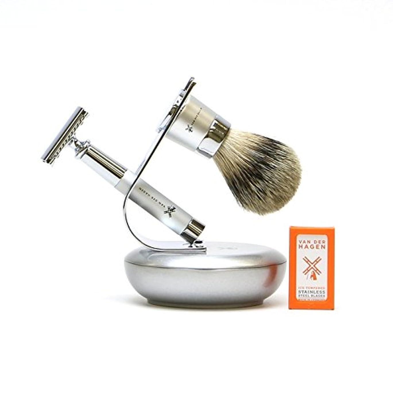 引き算ハードリングビバVANDERHAGEN(米) ウェットシェービングセット ジェットセット 両刃 髭剃り 替刃5枚付