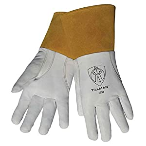 "Tillman 1338 Top Grain Goatskin TIG Welding Gloves with 4"" Cuff, X-Large from Tillman"