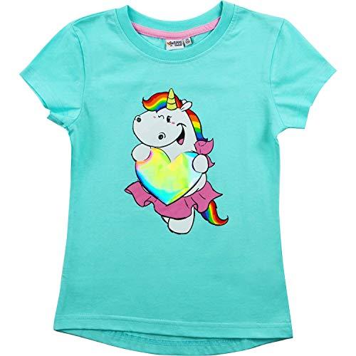 Pummeleinhorn Pummel & Friends Kinder Mädchen T-Shirt Regenbogenherz, türkis (134/140)