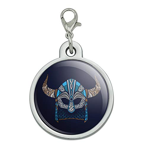 GRAPHICS & MORE Nordic Viking Warrior Helmet with Horns Chrome Plated Metal Pet Dog Cat ID Tag