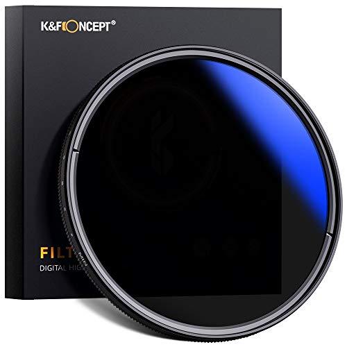 K&F Concept Pro 55mm ND Filter Slim Variable ND2-ND400 Filter Variabler Graufilter ND2-400 für Landschaftsfotografie und Architektur Aufnahmen