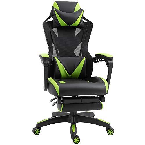 Vinsetto Racing Gaming-Stuhl, ergonomisch, für Büro, höhenverstellbar, mit verstellbarer Rückenlehne, Lendenwirbelstütze, einziehbar, 65 x 70 x 117-125 cm