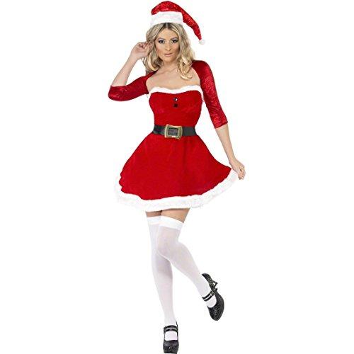 NET TOYS Sexy Weihnachtsfrau Damenkostüm Weihnachtskostüm Damen M 40/42 Weihnachtskleid Weihnachten Kostüm Miss Santa Outfit Weihnachtsgirl