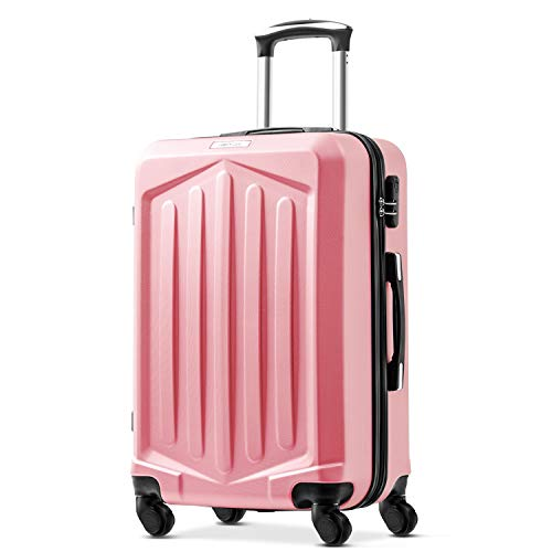 Merax Super Lightweight ABS Hard Shell Travel 4 Spinner Wheels Suitcase Cabin Hand Luggage Free 1-Year Warranty (20/24/28/Set of 3) (20, Rose Golden)