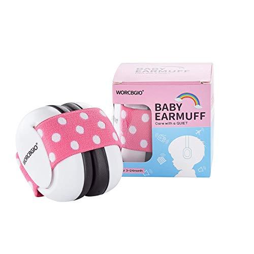 WORCBGIO 3-24 Months Infant Ear Protection Headphones with Adjustable Elastic Headband&Comfortable White Muffs Baby Earmuff Helps Sleep Well & Reduce Noise (Gypsophila, Pink)