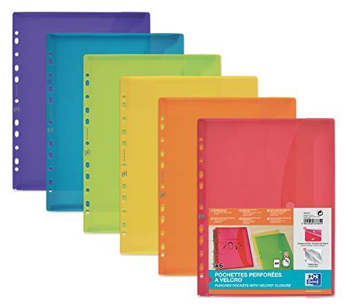 Oxford 400099574 Dokumenten-Mappe zum Abheften DIN A4 mit Klett-Verschluss und Eurolochung 6er Pack Brief-Taschen aus Kunststoff durchsichtig farbig sortiert