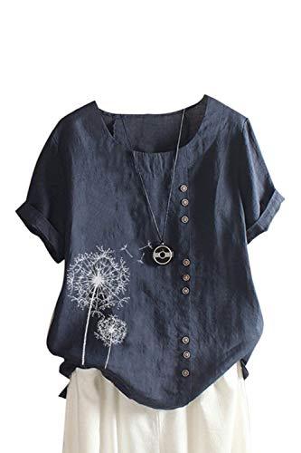 Damen Baumwolle T-Shirt Sommer Kurzarm Lose Leinen Print Oberteile Tops Bluse Blue4 XXL