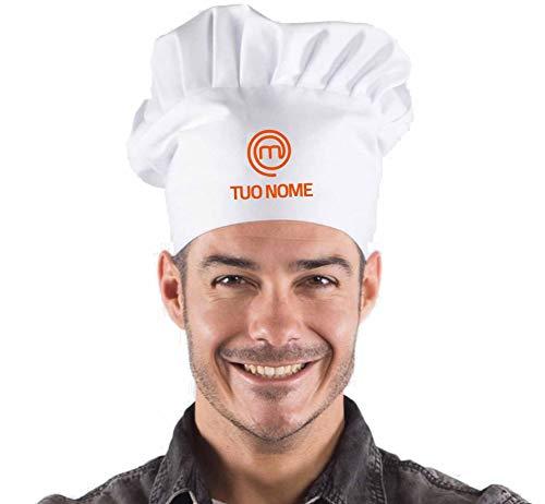Hole Gadget S.r.l Cappello Cuoco Masterchef Personalizzato con il tuo Nome da Chef Cucina Barbecue Idea Regalo Regali Simpatici