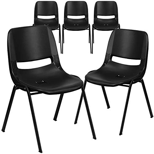 Flash Furniture 5 Pack HERCULES Series 880 lb. Capacity Black Ergonomic Shell Stack Chair with Black Frame