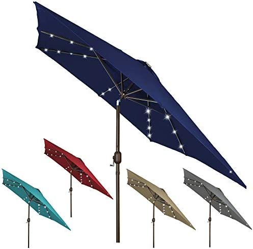 Blissun 11 ft Rectangle Patio Umbrella with 28 LED Lights Solar Umbrella Table Market Umbrella product image