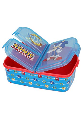 Sonic The Hedgehog Kinder Premium Brotdose Lunchbox Frühstücks-Box Vesper-Dose mit 3 Fächern