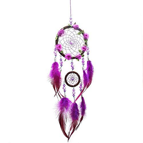 Filet Circulaire Dream Catcher Fait à la Main avec des Perles de Plumes de Fleurs pourpres 3D dans Une boîte Cadeau pour la Maison Murale Voiture Suspendue décoration Ornement Cadeau