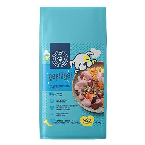 Junior Trockenfutter für Welpen 6 kg | Geflügel & Lachs mit Leinsamen | Mit 60% Fisch- & Fleischanteil, getreidefrei und ohne unnötige Zusätze