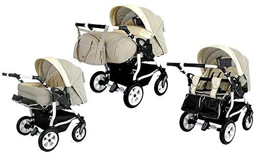 Adbor Duo Spezial Zwillingskinderwagen mit Babyschalen, Zwillingswagen, Zwillingsbuggy Farbe D-1 beige