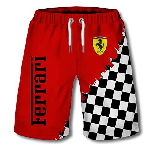 Pantalones Cortos De Verano para Hombres Pantalones De Playa Impresos con El Logotipo Digital 3D De Ferrari Pantalones...