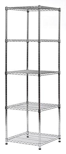 Muscle Rack Steel Wire Shelf Slim Spacesaver, 59'H x 18'W x 18'H, Chrome, Model:SWS181859-5C