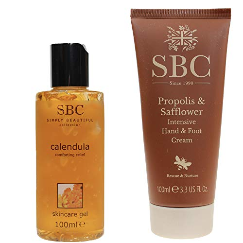 SBC Hand- & Foot Cream Propolis & Safflower 100ml + Skincare Gel Calendula - Ringelblume 100ml