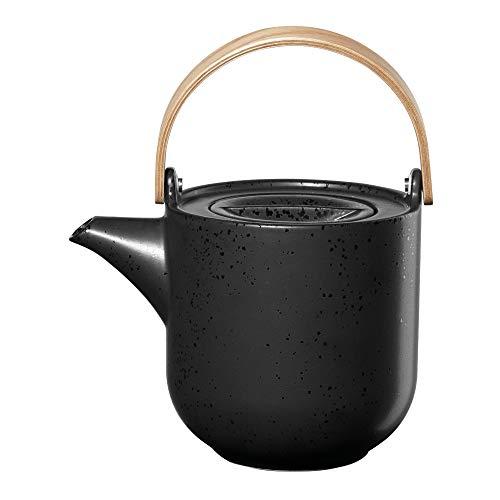 ASA coppa Teekanne mit Holzgriff kuro Porzellan 0,6l