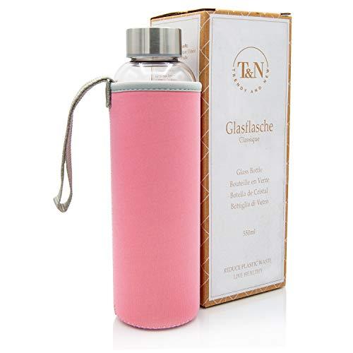 T&N Glasflasche 550 ml – Trinkflasche Glas mit Neoprenhülle – Wasserflasche Auslaufsicher – Glastrinkflasche aus dickerem Borosilikat-Glas für kohlensäurehaltige Getränke - Schlankes Design
