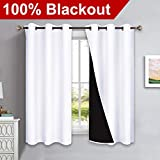 NICETOWN Pure White 100% Blackout Lined Curtains, 2 Thick Layers Completely Blackout Window Treatment Panels Thermal Insulated Drapes for Kitchen (1 Pair, 42-inch Width x 63-inch Length Each Panel)